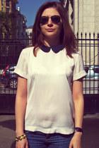 Mango top - Michael Kors boots - Topshop jeans - H&M bracelet