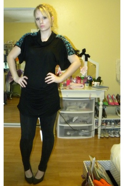 black Forever 21 leggings - black Forever 21 dress - gray payless shoes
