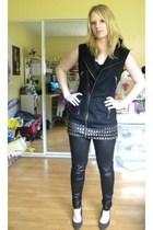 black Forever 21 dress - black Forever 21 leggings - gray payless shoes