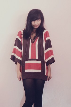 maroon striped Promod hoodie - black stockings