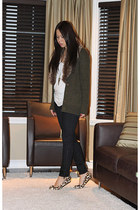 army green Zara cardigan - black Zara pants - camel Ivanka Trump flats
