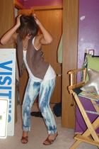 American Apparel top - closet classic vest - sweetass jeans - Enzo Angiolini sho