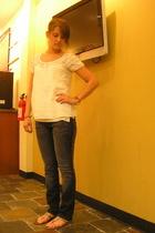 ann taylor shirt - PacSun jeans - sandals shoes - Express sweater