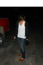 Hurley jacket - American Apparel top - DIY jeans - Minnetonka shoes