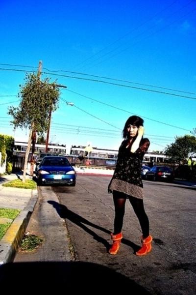 Anonymous dress - Betsy Johnson leggings - Aldo boots