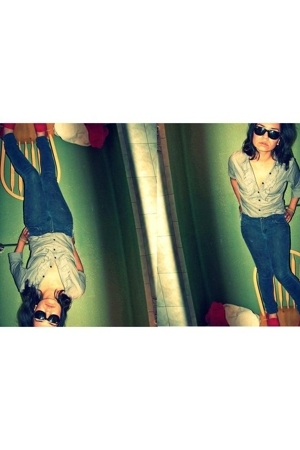 Marshalls blouse - Forever21 jeans - Tom shoes shoes - Ray Ban sunglasses