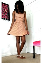 light pink Lauren Conrad dress - white sandals sandals