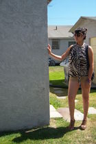 brown Walmart shorts - brown top - brown f21 glasses - silver f21 vest -