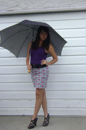 done by me skirt - black Steve Madden shoes - purple top - black belt