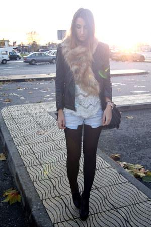white Zara shirt - black Zara jacket - burnt orange H&M accessories