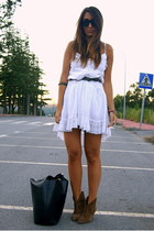 dark khaki Pull and Bear boots - white Zara dress - black Zara bag