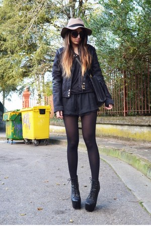black Jeffrey Campbell boots - black Zara shorts