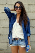 navy denim Zara shirt - light brown navajo Zara belt