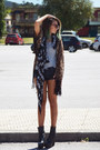 black One Teaspoon shorts - dark brown Nasty Gal cardigan