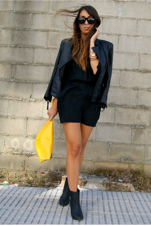 black Zara jacket - yellow clutch Wholesale-Dress bag
