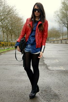black wedges asos shoes - ruby red leather Zara jacket - navy denim Zara shirt