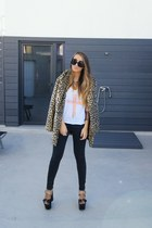mustard leopard asos coat - white High Heels Suicide top