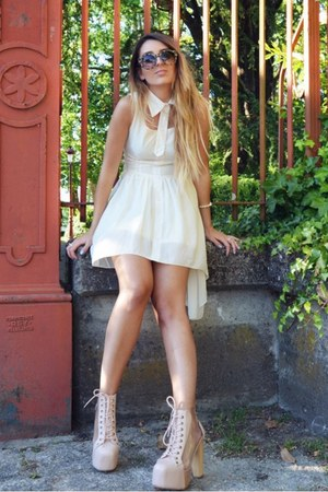 light pink Jeffrey Campbell shoes - white Sheinside dress