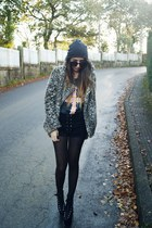 camel Zara coat - black Nasty Gal shorts - gray High Heels Suicide top