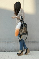 black wedges Zara shoes - tan Zara sweater - tawny leopard Yesstyle bag - carrot