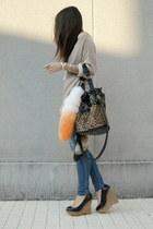 black wedges Zara shoes - tan Zara sweater - tawny leopard Yesstyle bag - carrot
