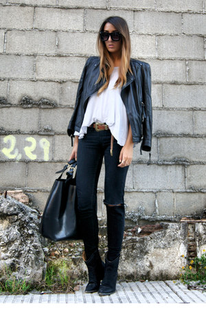 black leather Zara jacket - black cowboy elite boots - black leather Zara bag