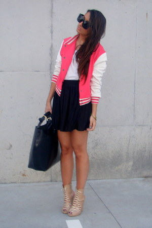 peach Zara shoes - hot pink varsity asos jacket - black leather Zara bag - black