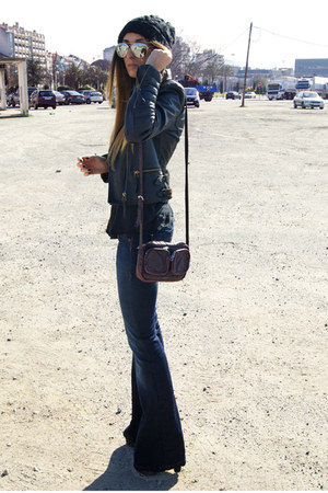 navy Levis jeans - black Zara jacket - crimson H&M bag