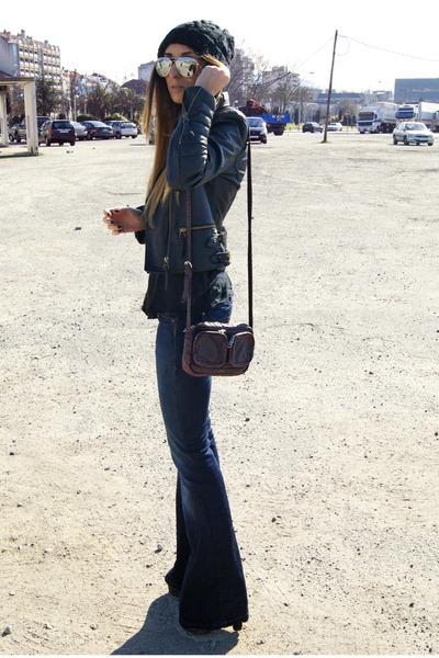navy Levis jeans - black Zara jacket - crimson H&M bag