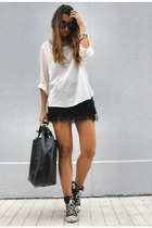 black fringe Bershka skirt - ivory silk Zara shirt - black leather Zara bag