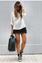 black fringe Bershka skirt - ivory silk Zara shirt - black leather Zara bag