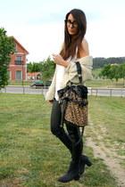 black H&M boots - tawny leopard Yesstyle bag - camel menswear Zara cardigan