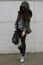 silver Topshop shoes - green parka Zara coat - charcoal gray H&M sweater