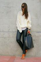 white Wholesale-Dress sweater - black leather Zara bag - carrot orange Zara sand