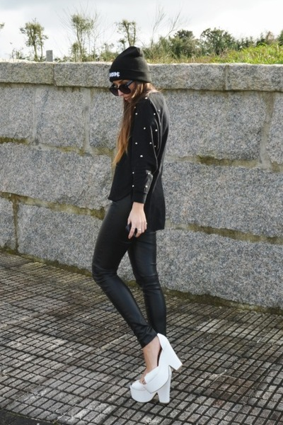 white brazen Jeffrey Campbell shoes - black High Heels Suicide hat