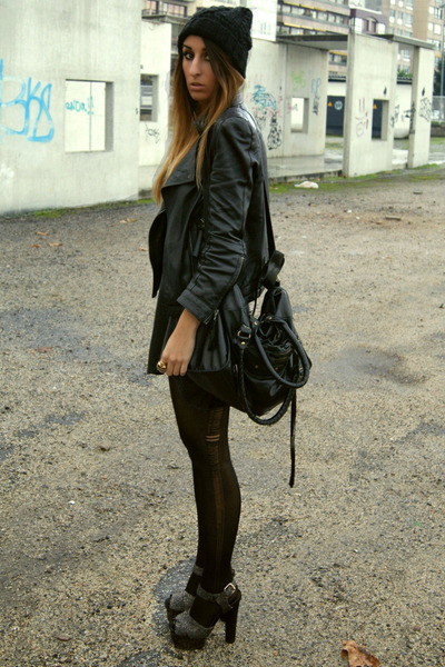 gray Topshop shoes - black Zara dress - black Zara jacket