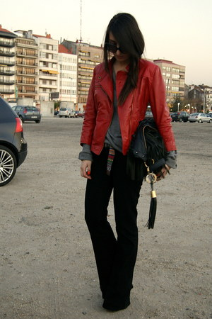 black flare Zara pants - ruby red leather Zara jacket - heather gray H&amp;M sweater