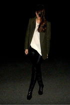 green Mango coat - black Zara leggings - white H&M t-shirt - black Zara shoes