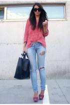 red asos shoes - ruby red Zara sweater - black leather Zara bag