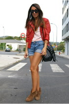 ruby red leather Zara jacket - periwinkle Mango shorts - peach striped Zara top