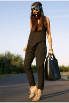black Zara bag - black Zara top - black baggy Zara pants