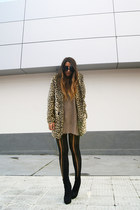 tan asos coat - black asos boots - black Topshop tights