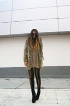 tan asos coat - black asos boots - black Topshop tights