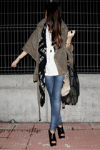 black asos boots - black McQueen scarf - camel diy old cape