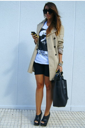 black curve wedges Asos Black shoes - camel trench Zara coat - black cycling Ame