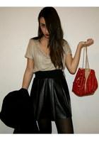 crimson studded Zara bag - black leather Zara skirt - mustard golden Zara t-shir
