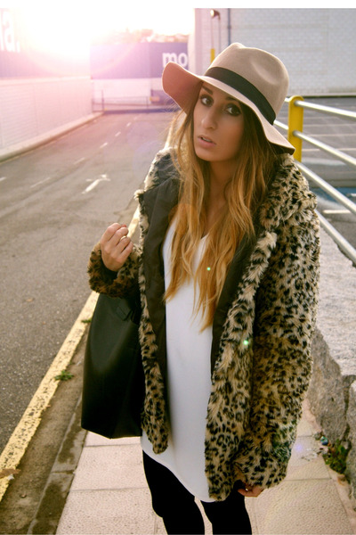 brown Bershka coat - white Zara dress - light brown asoscom hat
