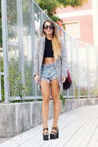 heather gray Sheinside coat - brown UNIF shoes