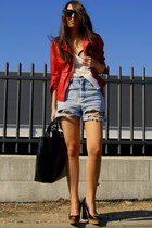 black wedges Zara shoes - ruby red leather Zara jacket - black leather Zara bag