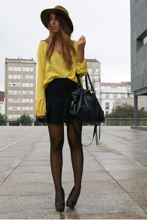 mustard Zara shirt - black Zara skirt